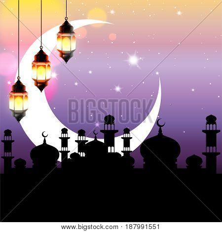 Ramadan Kareem greeting. Arabian nights decorated with big crescent moon, arabic lantern and bokeh lights. Vector Illustration.