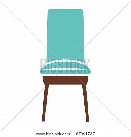 Vector illustration of blue colored simple chair isolated on white.