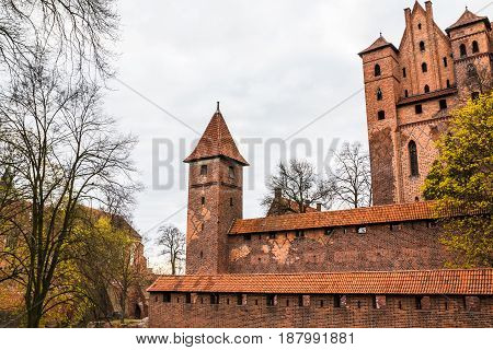 Big Beautiful Castle Made Of Red Brick