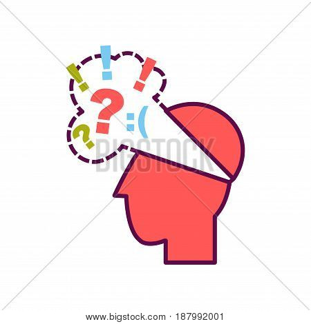 Vector illustration of head with thought cloud with sad smile and tags.