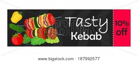 Coupon on sale for tasty kebab. Made in cartoon flat style