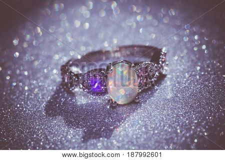 White Opal Ring Filtered