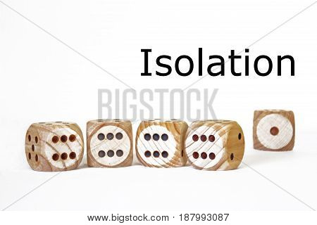 isolation symbolic scene with four similar dices standing close to each other and a different one standing alone in the distance