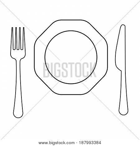 Vector drawing of thin line fork octagonal plate and knife flat line icon.