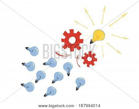 A lot of ordinary light bulbs go through the mechanism but one goes out that glows/Creative idea
