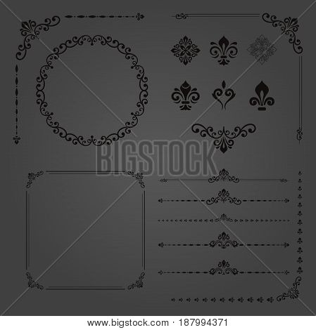 Vintage set of classic elements. Different elements for decoration and design frames, cards, menus, backgrounds and monograms. Classic dark patterns.