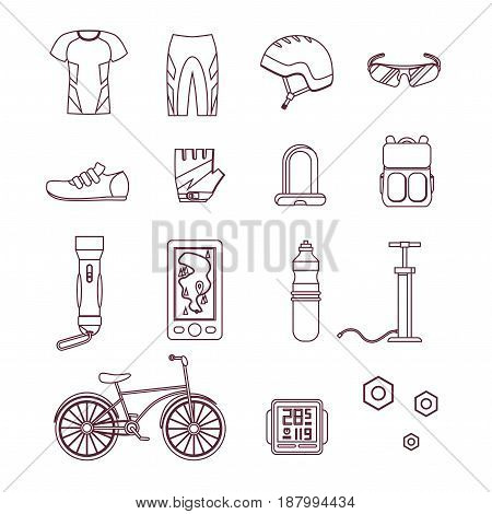 Bicycle and Accessories Thin Line Set. Sportive Lifestyle. Design Style. Vector illustration