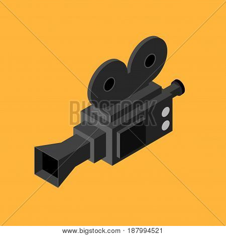 Cinema Black Video Camera Isometric View Equipment for Record Movie or Film. Vector illustration