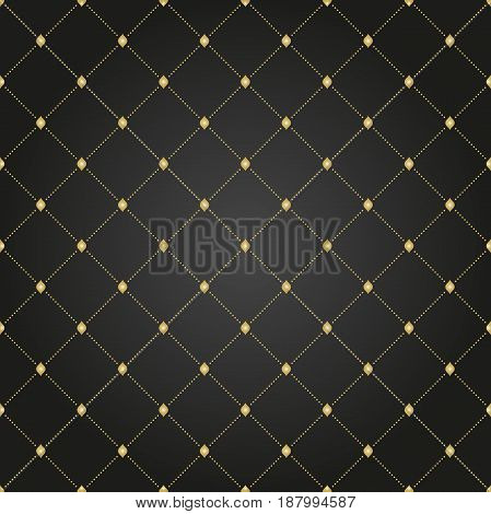 Geometric dotted black and golden pattern. Seamless abstract modern texture for wallpapers and backgrounds