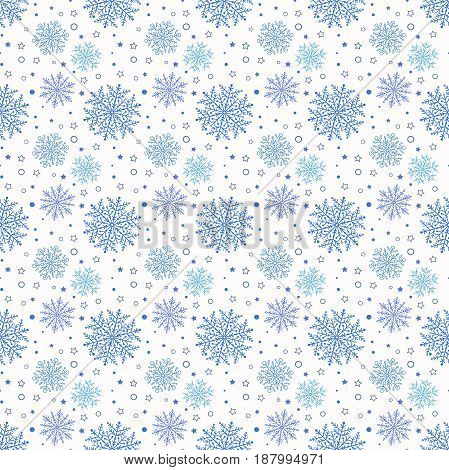 Winter background with small and big blue snowflakes. Seamless abstract background. Pattern with different snowflakes