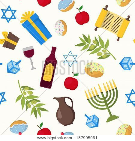 Cartoon Hanukkah Background Pattern Jewish Holiday Traditional Culture Symbol Flat Design Style. Vector illustration