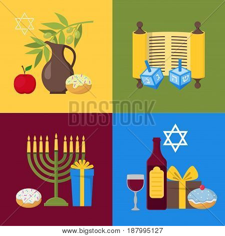 Cartoon Hanukkah Banner Card Set Jewish Holiday Traditional Culture Symbol Flat Design Style. Vector illustration