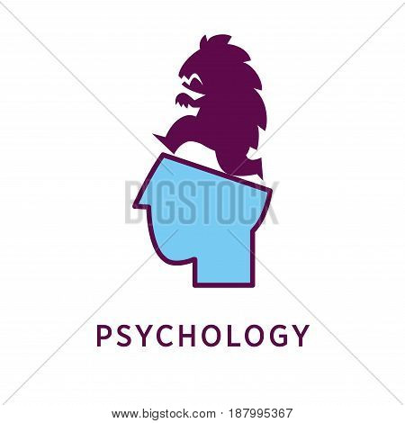 Vector illustration of blue colored head with a scary monster on top and psychology word isolated on white.