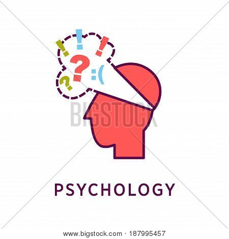 Vector illustration of red colored abstract head with sad thoughts cloud and psychology word on the white background.