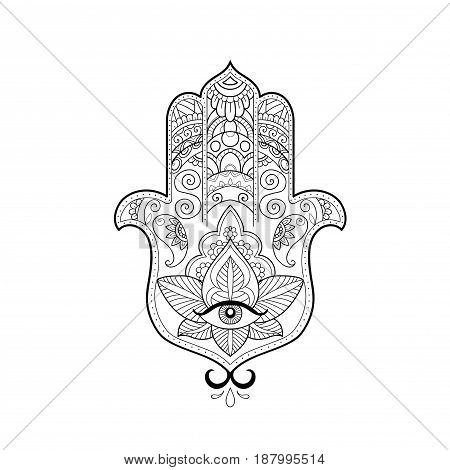 Sketch of a beautiful hamsa on a white background.