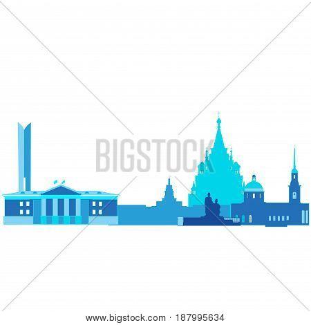 A silhouette of the Urban Landscape of Izhevsk.