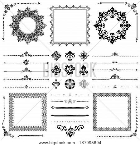 Vintage set of classic black elements. Different elements for decoration and design frames, cards, menus, backgrounds and monograms. Classic patterns.