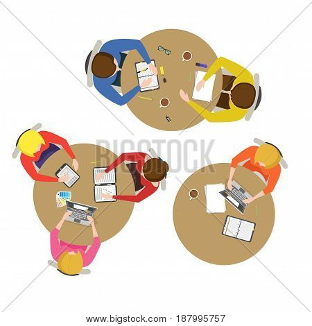 Cartoon Team Meeting Collection Top View Business Presentation, Conference, Discussion or Brainstorming Flat Design Style. Vector illustration