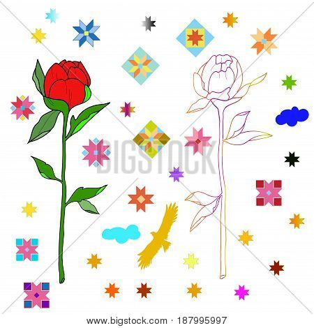 Sketch of flowers and ethnic patterns on white background.