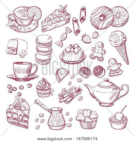 Tea and coffee different elements. Sweets cupcakes. Hand drawn vector illustration. Sweet cupcake and dessert to tea