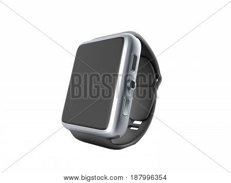 Digital Smart Watch Or Clock With Icons 3D Render On White No Shadow