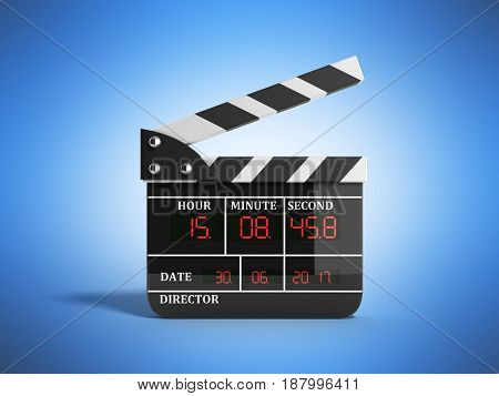 Movie Clapper Board High Quality 3D Render On Blue