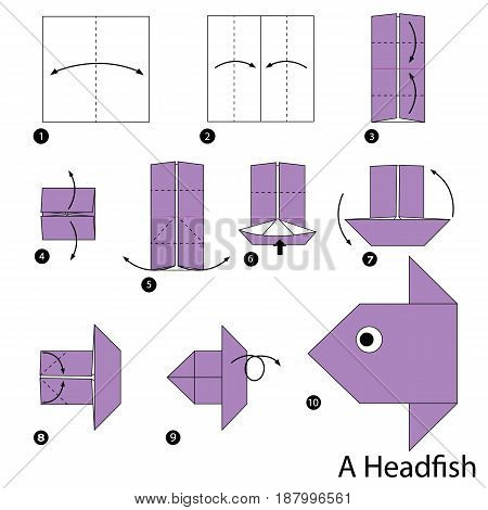 step by step instructions how to make origami A Head fish.