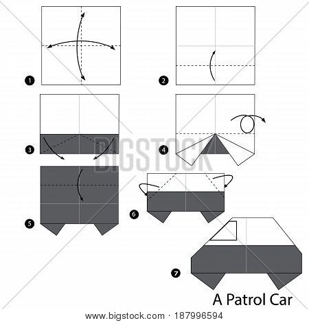 Step by step instructions how to make origami A Patrol Car.