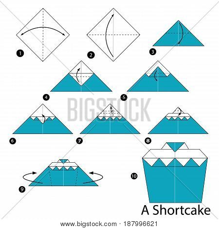 Step by step instructions how to make origami A Shortcake.