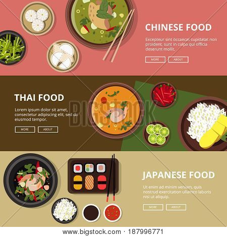 Three horizontal banners with thai japanese and chinese food. Vector illustrations with place for your text. Design banner for asian restaurant