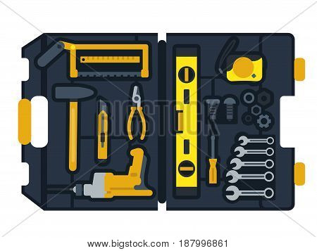 Vector illustration of construction tools box. Tool for repair equipments for construction in box