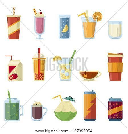 Illustration with non alcoholic drinks. Vector pictures in cartoon style. Set of beverage drinks water amd juice lemonade and soda