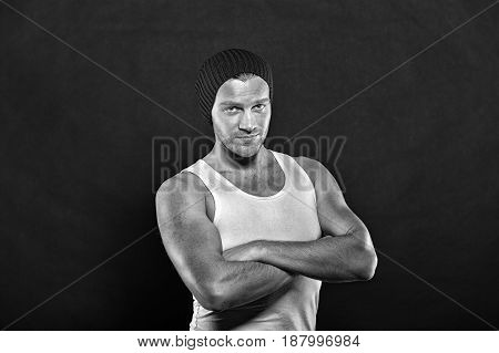 Handsome Young Man In Hat, Sexy Muscular Guy Portrait
