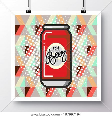 Poster with icon can of beer and phrase-Cold Beer against the background of a seamless pattern. Vector illustration for wallpaper flyers invitation brochure greeting card menu.