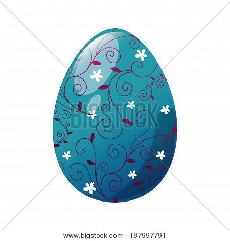 easter eggs with flowers shapes icon  over white background. colorful design. vector illustration