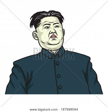 Kim Jong-un Caricature Portrait Vector. May 25, 2017