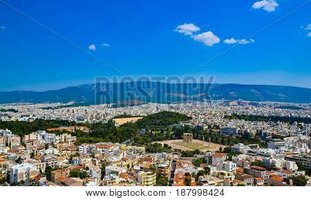 Temple of the Olympian Zeus at Athens Greece - view from Acropolis Greece Temple of Zeus