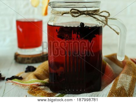 A fine drink from the hibiscus. Delicious and healthy. Hot and cold.