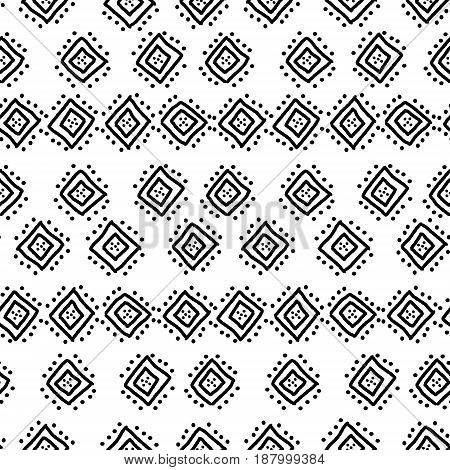 Black and white simple african mudcloth fabric seamless pattern, vector background