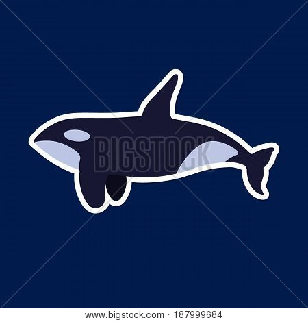 Killer whale icon Flat design of orca mammal on the dark blue background vector illustration