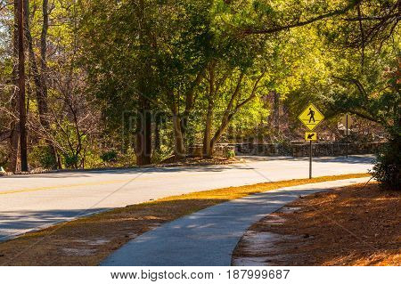 Robert E Lee Boulevard in the Stone Mountain Park in sunny autumn day Georgia USA