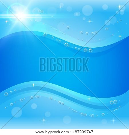 Light sunny water background with bubbles. Blue banner or flyer with water waves. Sunshine lens flare. Glowing light rays, bokeh and sparkles beam. Sun flash with solar camera effect. Radiate burst.