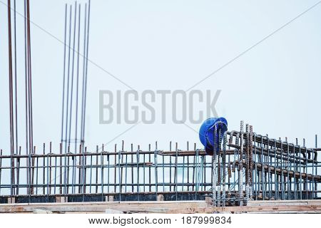 Construction site, Safety helmet on steel construction after work