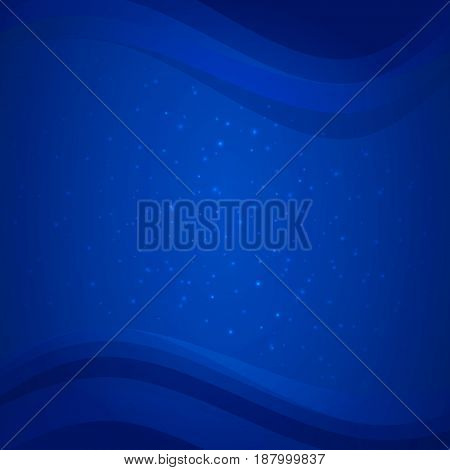 Blue deep sea background with water waves and sparkles. Soft gradient backdrop. Abstract shiny background with light effects. Business style design for banner or flyer template. Vector EPS 10.