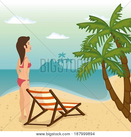Beach landscape, woman in swimsuit and foldable chair. Vector illustration.