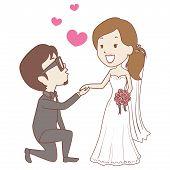 Vector Illustration of Kneeling Groom with Bride Wedding Proposal poster
