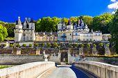 Fairytale castle Usse. Beautiful castles of Loire valley in France poster