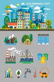 Big ecology set for info graphis. Landscape with ecology concept. Ecofriendly city with buildings, transport and nature ecology elements in flat style. Vector illustration for brochures and websites poster
