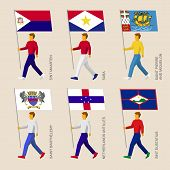 Set of simple flat people with flags of Caribbean countries. Standard bearers infographic - Sint Maarten, Saba, Saint Pierre and Miquelon, Saint Barthelemy, Netherlands Antilles, Sint Eustatius poster