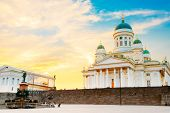 Helsinki, Finland. Famous Landmark In Finnish Capital - Senate Square With Lutheran Cathedral And Monument To Russian Emperor Alexander II At Summer Sunset Or Sunrise poster